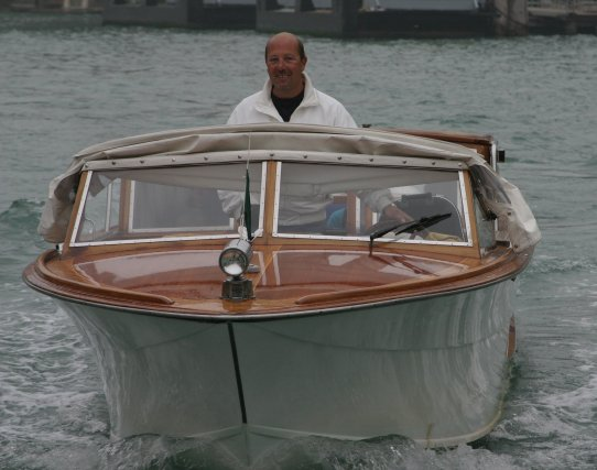 Boater on the Grand Canal in Venice