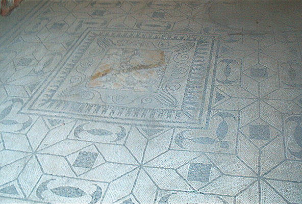 View of a remarkably well-preserved tile floor