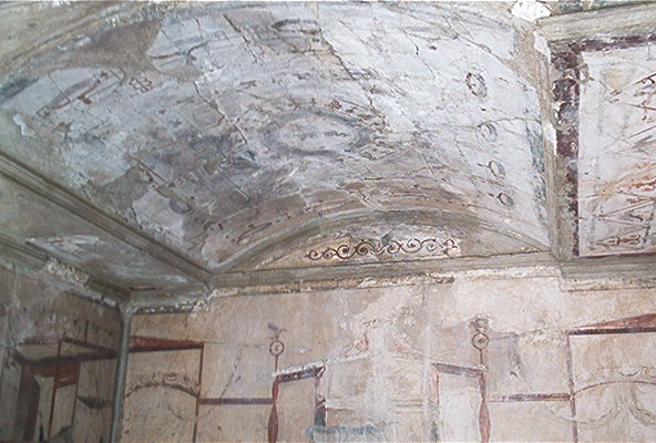 A well-decorated ceiling in Ercolano