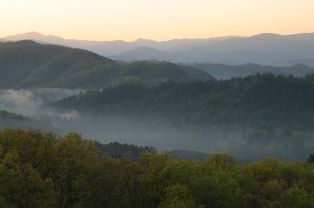 Sunrise from the Foothills Parkway, Walland, TN