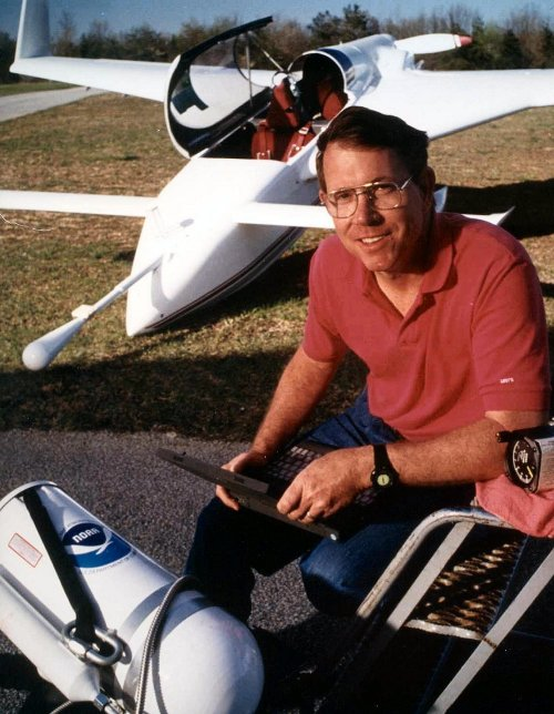 Tim Crawford with N3R Long-EZ Research Aircraft circa 1996