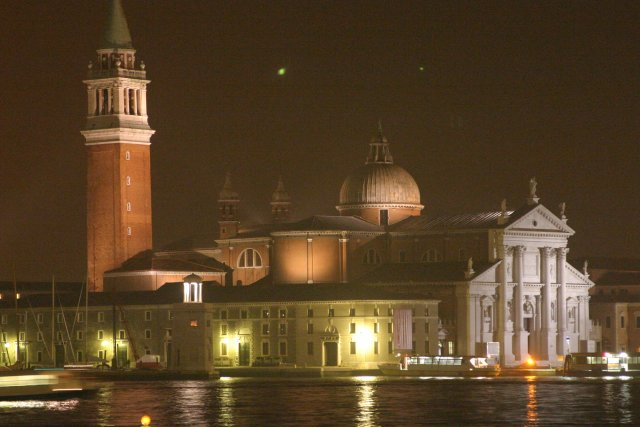 Night view of Dogana in Venice