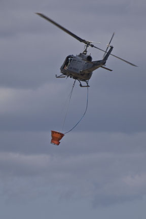 Huey helicopter with sling load