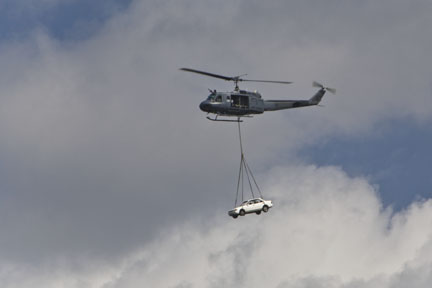 Huey helicopter with sling load!