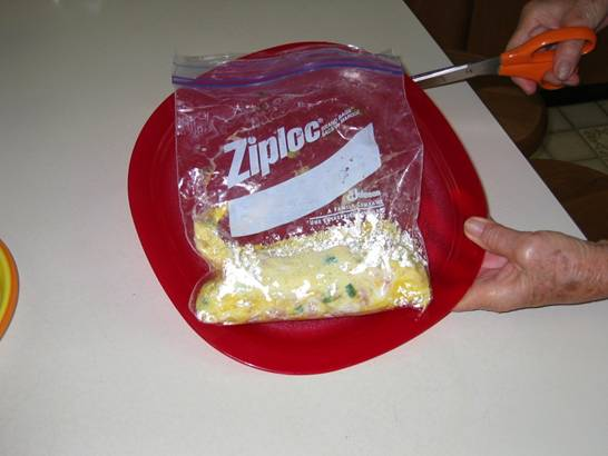 Ziploc Omelet - Mixing ingredients