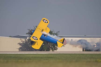 PT-17 Stearman low pass at EAA Airventure 2007, Oshkosh, Wisconsin