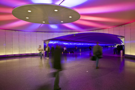 Psychedelic tunnel at Detroit International Airport