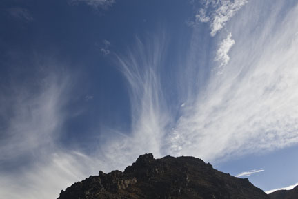 Cirrus over the summit in Tongariro National Park